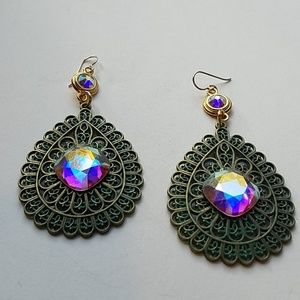 GASOLINE GLAMOUR Jewelry - GYPSY MEDALLION patina drop OPAL XL stone earrings